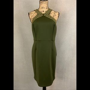 Spence- Olive Green Sheath Dress w/ Gold Accents